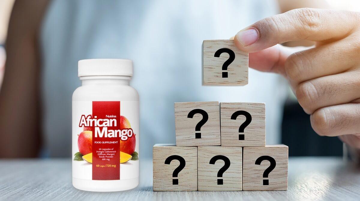 opakowanie African mango obok piramidy z klocków ze znakami zapytania